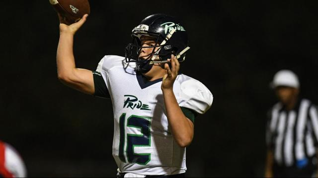 Vince Amendola (12) of Leesville Road High School.  Leesville Road High School traveled to Sanderson High School on Thursday October 6th be get the storm in ahead of Hurricane Matthew.   Sanderson High School defeats Leesville Road High School on Homecoming 27 to 10.    Photo by:  Suzie Wolf