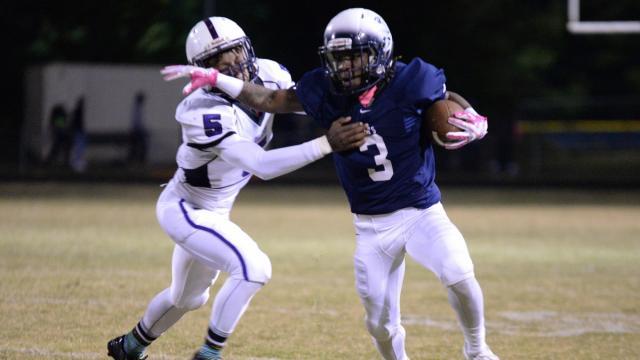 Caleb Harrington (3) of Hillside High School. Riverside-Durham High School traveled to Hillside High School on Friday, Oct. 14, 2016.  Hillside defeats Riverside 34 to 7. (Photo By: Beth Jewell/HighSchoolOT)