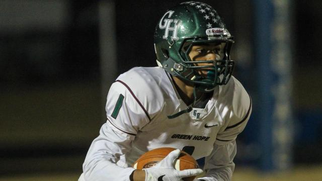 Blake Watson (1) of Green Hope. Green Hope visited Garner Magnet High School on Friday, November 18th, 2016 in Garner, N.C. for the opening round of the 4AA state playoffs. The Garner Trojans breezed past the Green Hope Falcons, the Trojans bringing home a win with a final score of 51 - 0. (Photo By: Lexi Baird / HighSchoolOt.com)