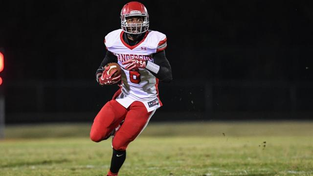 Trent Pennix (6) of Sanderson High School.  Sanderson High School traveled to Middle Creek High School for the second round of the football play-offs.  Top seed Middle Creek defeat Sanderson 45-7 to advance to the third round of the play-offs.  Photo by:  Suzie Wolf