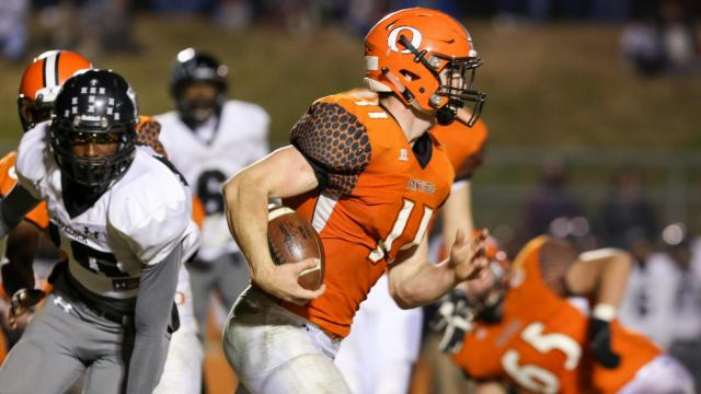 Payton Wilson (11) of Orange. The Orange Panthers host the Havelock Rams in the 2nd round of the NCHSAA football playoffs. The Havelock Rams come out on top in a close game, 14-7 Friday, Nov 25,  2016. 