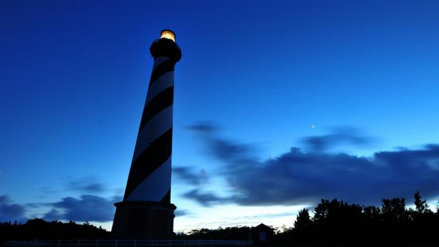 The stars shine bright after dark at the Cape Hatteras Lighthouse located in Buxton, NC in late spring 2012. (Photo By: Will Bratton, WRAL.com)