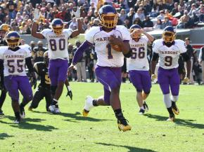 Tarboro's  Todd Gurley II (#1) runs in for a touchdown as Tarboro defeats Lincolnton 39 to 36 at the 2011 2AA State Championship game Saturday December 3, 2011 at Carter-Finley field in Raleigh, NC.