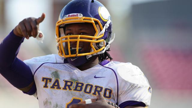 Tarboro's  Todd Gurley II (#1) celebrates a touchdown as Tarboro defeats Lincolnton 39 to 36 at the 2011 2AA State Championship game Saturday December 3, 2011 at Carter-Finley field in Raleigh, NC.