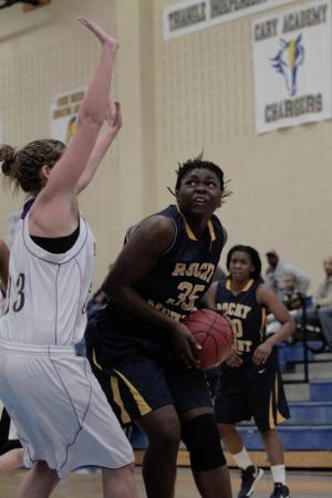Rocky Mount's Kelsey Daniels (35) goes up for the layup at the HighSchoolOT.com Holiday Invitiatonal at Cary Academy Friday afternoon.  The Holly Springs Lady Hawks defeated the Lady Gryphons 48-41 (photo by Wes Hight).