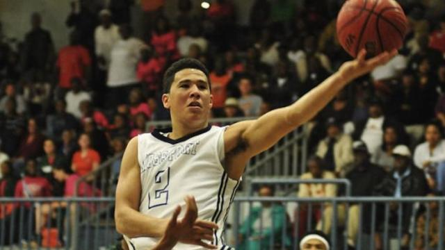 Devin Booker of Moss Point (Miss) vs. West Harrison. (Photo Courtesy: Tyler G. Myers/GulfLive.com)