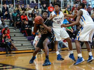 Jaylen Brown (24) looking towards the hoop.  Wheeling Wildcats from Georgia beat North Carolina's Garner Trojans 86 to 60 on the first day of the HSOT holiday invitational tournament.  (Photo by: Suzie Wolf/WRAL contributor)
