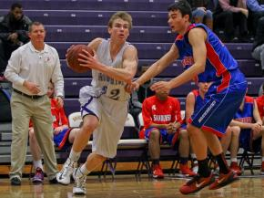 Broughton's #32 James Hemphill drives the baseline during the game Wednesday January 23, 2013. (Photo by Jack Tarr)