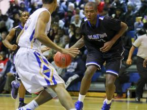Clayton's #11 Gary Clark drives the lane during the game Wednesday January 23, 2013. (Photo by Jack Tarr)
