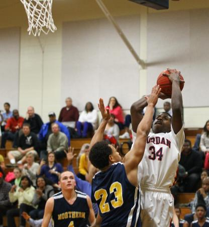 Jordan's #34 Tyreek Frye  takes a jumper during the game Tuesday January 29, 2013. (Photo by Jack Tarr)