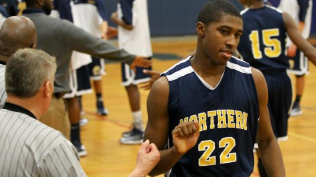 Northern's #22 Ricky Council (C) during introductions Tuesday January 29, 2013. (Photo by Jack Tarr)