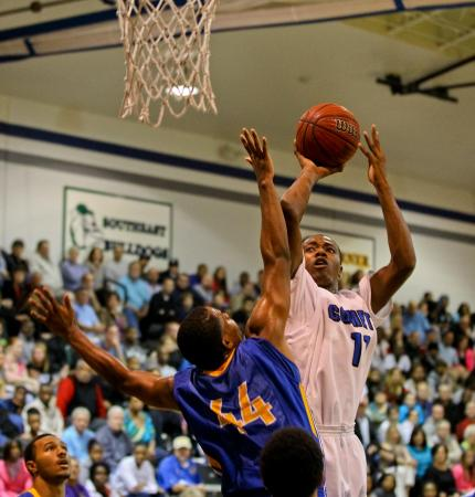 Clayton's #11 Gary Clark takes a short jumper during the game Wednesday February 6, 2013  (Photo by Jack Tarr)