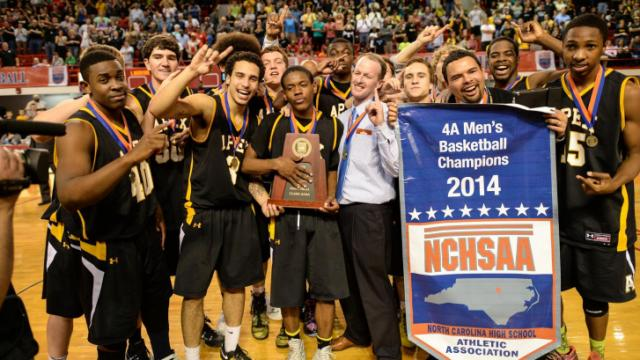 Apex High School plays Lake Norman High School for the 4A boys state finals: Apex wins with a score of 62 to 59 at Reynolds Coliseum, North Carolina State, Raleigh North Carolina.  (Photo by: Suzie Wolf/WRAL contributor)