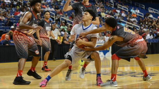 The East All-Stars played the West All-Stars in the N.C. Coaches Association East-West All-Star Boys Basketball Game on Monday, July 18, 2016, at the Greensboro Coliseum. (Photo By: Jabari Brown/HighSchoolOT.com)