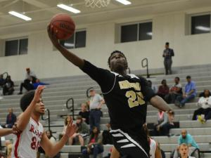 Shayne Saigo (20) of Knightdale. Knightdale advances to the Greater Neuse River Conference championship game with a 62-51 win over Rolesville on Tuesday, Feb. 14, 2017. (Photo By: Nick Stevens/HighSchoolOT.com)