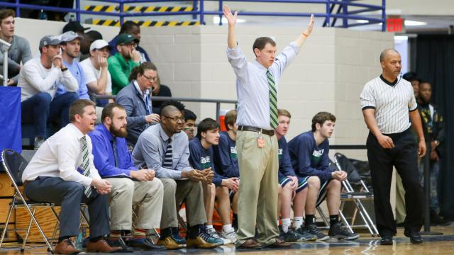 Head Coach Russ Frazier of Leesville Road. The Leesville Road Pride face the South Central Falcons in the boys 4A eastern basketball finals. Leesville Road gets the upset, winning 44-43.  Saturday, Mar 4,  2017.  (Photo By: Karl Fisher/HighSchoolOT.com)