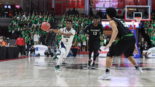 Alex Hunter (3) of Leesville Road.  4A Boys Basketball State Championship at NCSU Reynolds Coliseum with Leesville Road vs. Southwest Guilford on March 11, 2017.  The Cowboys of Southwest Guilford dominated the game and defeated Leesville Road 73 to 49.  Photo by Suzie Wolf