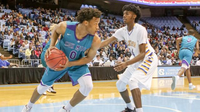 Wendell Moore Jr. (0) of Cox Mill. The Cox Mill Chargers take on the Eastern Guilford Wildcats in the NCHSAA Boys 3A basketball championship game. Dean E. Smith Center, UNC Chapel Hill. Saturday, Mar 11,  2017.  (Photo By: Karl Fisher/HighSchoolOT.com)