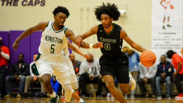 4b26ded6ff9 Coby White (0) of Greenfield. Greenfield (Wilson) blows past Kinston 85.  The McDonald s All-American ...