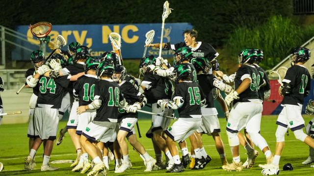Tonight boys lacrosse state championships for 1A/2A/3A takes place at WakeMed Soccer Park; Weddington vs Cedar Ridge on Friday May 19, 2017.  Weddington dominated the game after a slower start in the first quarter and defeated Cedar Ridge 21 to 6.  Photo by:  Suzie Wolf