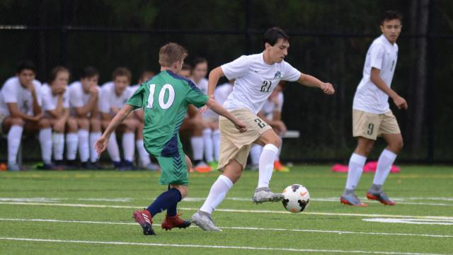 Salvatore Bottone (21) of Cardinal Gibbons. Cardinal Gibbons pitched a shutout against Leesville Road, winning 5-0 in boys soccer on Monday, Sept. 11, 2017. (Photo By: Nick Stevens/HighSchoolOT.com)