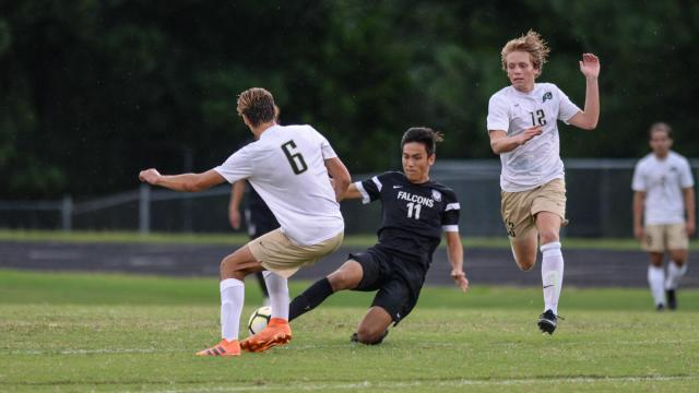 7a23536f2 Dylan Enseling (11) of Green Hope. In Wake County Cup pool play,