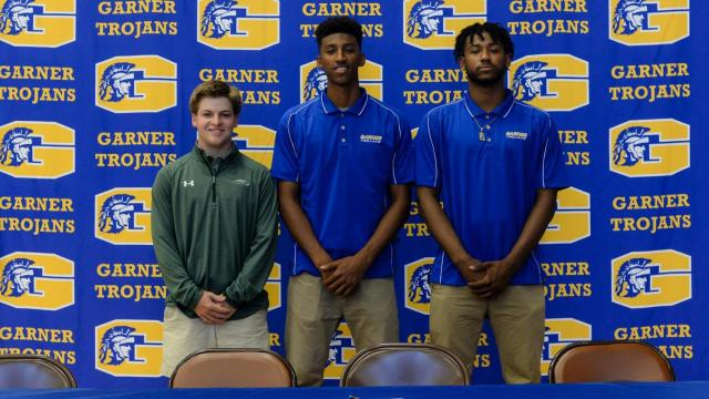 Garner High School's Trey Capps, Wellington Guzman, and Alex Reed on Signing Day at Garner High School on Wednesday, May 17, 2017. (Photo By: Beth Jewell/HighSchoolOT.com)