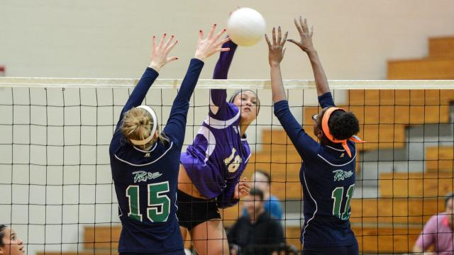 Kalee Vanderhorst (18) of Broughton. With a 3-0 (25-18, 25-13, 25-17) win over Leesville Road, Broughton has ensured itself at least a share of the Cap 8 volleyball title. The match was played at Leesville Road on Oct, 13, 2015. (Photo By: Nick Stevens/HighSchoolOT.com)