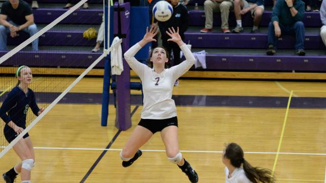 Kati Smith (7) of Broughton High School. Leesville Rd. volleyball team traveled to Broughton on Thursday, Oct. 29, 2015 for the third round of the 4-A Volleyball state playoffs. The opening game was tight for the Pride but the Capitals ultimately won 3-0 (27-25, 25-13, 25-22) to advance to the fourth round. (Photo By: Beth Jewell/High SchoolOT.com)