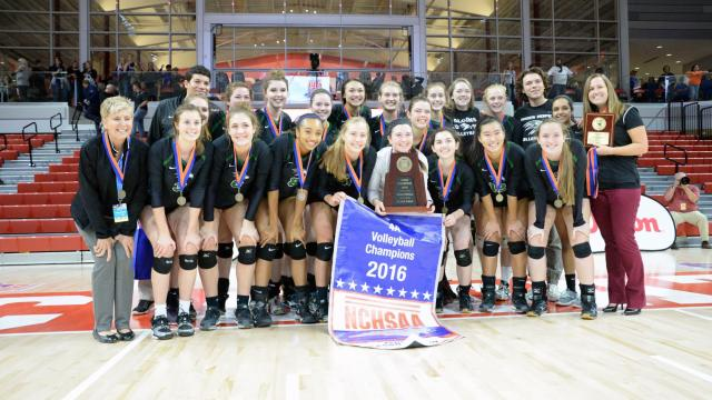 Green Hope High School, Eastern Regional Champions, met Reagan High School, Western Regional Champions, in the 4-A State Finials at Reynolds Coliseum at NCSU on Saturday, November 5, 2016. Green Hope wins 4 sets to 1.  (Photo By: Beth Jewell/HighSchoolOT)