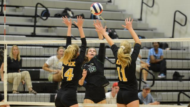 Erin Boone (13) of Green Hope. Green Hope defeated Apex in volleyball in three sets 25-13, 25-16, 25-20 on Thursday, Aug. 24, 2017. (Photo By: Nick Stevens/HighSchoolOT.com)
