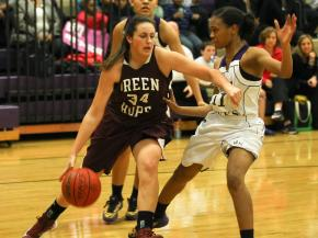 Green Hope's #34 Cassidey Sowards drives the lane during the game Thursday January 31, 2013. (Photo by Jack Tarr)