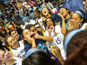 Millbrook after the win.  Millbrook defends state title against Page with a  score of 62 to 56.  Photo By: Suzie Wolf
