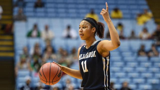 Dazia Powell (11) of Millbrook High School.  Millbrook High School plays Northwest Guilford High School in the 4-A Girls Basketball Championship, March 12, 2016 in the Dean Smith Center at  the University of North Carolina.   Millbrook defeats Northwest Guilford in the final seconds 46 to 45.  Photo by:  Suzie Wolf