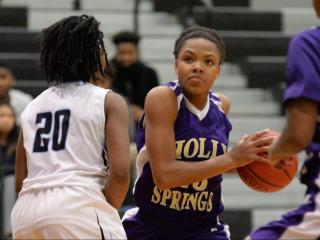 Samantha Weaver (23) of Holly Springs HIgh School. Panther Creek High School girls basketball team took on the Lady Hawks of Holly Springs High School on Friday, December 16, 2016 at home.   (Photo By: Beth Jewell/HighSchoolOT)