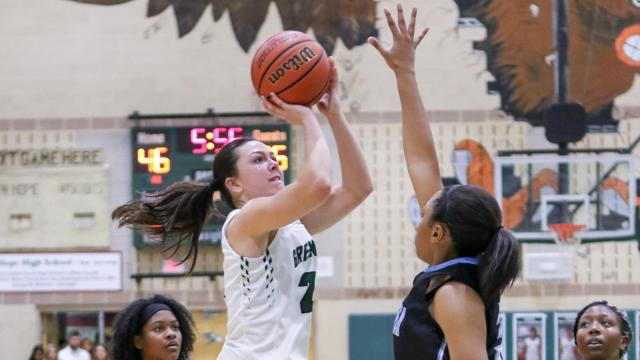 Kelly Fitzgerald (22) of Green Hope. The Green Hope Falcon Ladies defeat rival Panther Creek Catamounts, 43-51,  in the Fight for 55 Friday, Jan 27,  2017.  (Photo By: Karl Fisher/HighSchoolOT.com)