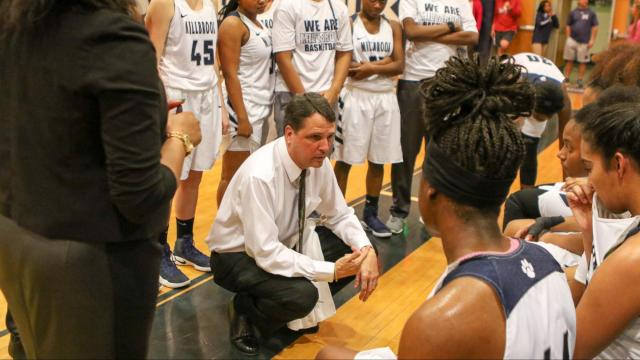 Head Coach Chris East of Millbrook. The Millbrook Wildcats Ladies defeat rival Leesville Road Pride 34-53. Tuesday, Feb 7,  2017.  (Photo By: Karl Fisher/HighSchoolOT.com)