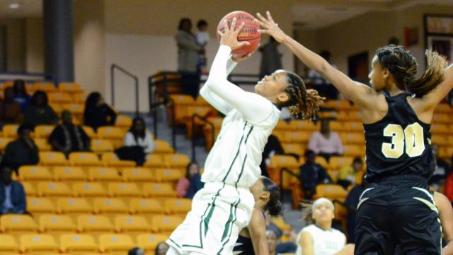 Jada McMillian (15) of Southeast Raleigh High School. Knightdale girls basketball team came back in the second half but ran out of time.  Southeast Raleigh defeated Knightdale 49 to 43 for the Greater Neuse Conference Championship on Thursday, February 16, 2017 at Campbell University. (Photo By: Beth Jewell/HighSchoolOT.com