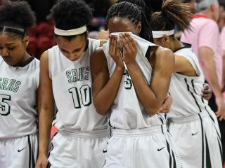 4A Girls Basketball State Championship at NCSU Reynolds Coliseum with Southeast Raleigh vs. Northwest Guilford on March 11, 2017.  Northwest Guilford defeated Southeast Raleigh in a game down to the final buzzer 36 to 34.  Photo by Suzie Wolf