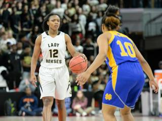 Mikayla Boykin (12) of Clinton High School. The Lady Dark Horses of Clinton High School defeated North Surry High School (Mount Airy, NC) 59 to 49 on Saturday, March 11, 2017 @ Reynolds Coliseum to claim the 2A NCHSAA State Girls Basketball State title. (Photo By: Beth Jewell/HighSchoolOT.com)