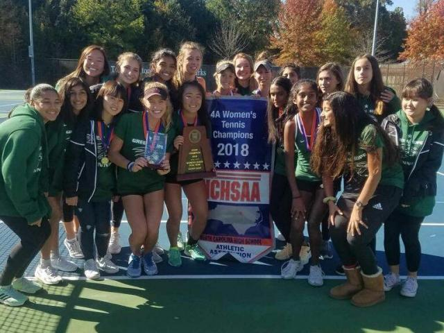 91b666e63a44a Green Hope 2018 girls dual team tennis state champions (Photo Courtesy   NCHSAA)
