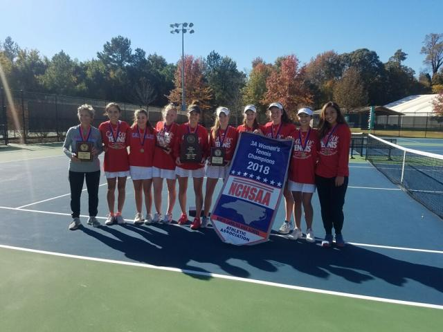 07373f7bdfa6b Charlotte Catholic 2018 girls dual team tennis state champions (Photo  Courtesy  NCHSAA)