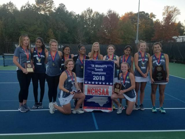 d737ce2f55584 Raleigh Charter 2018 girls dual team tennis state champions (Photo  Courtesy  NCHSAA)